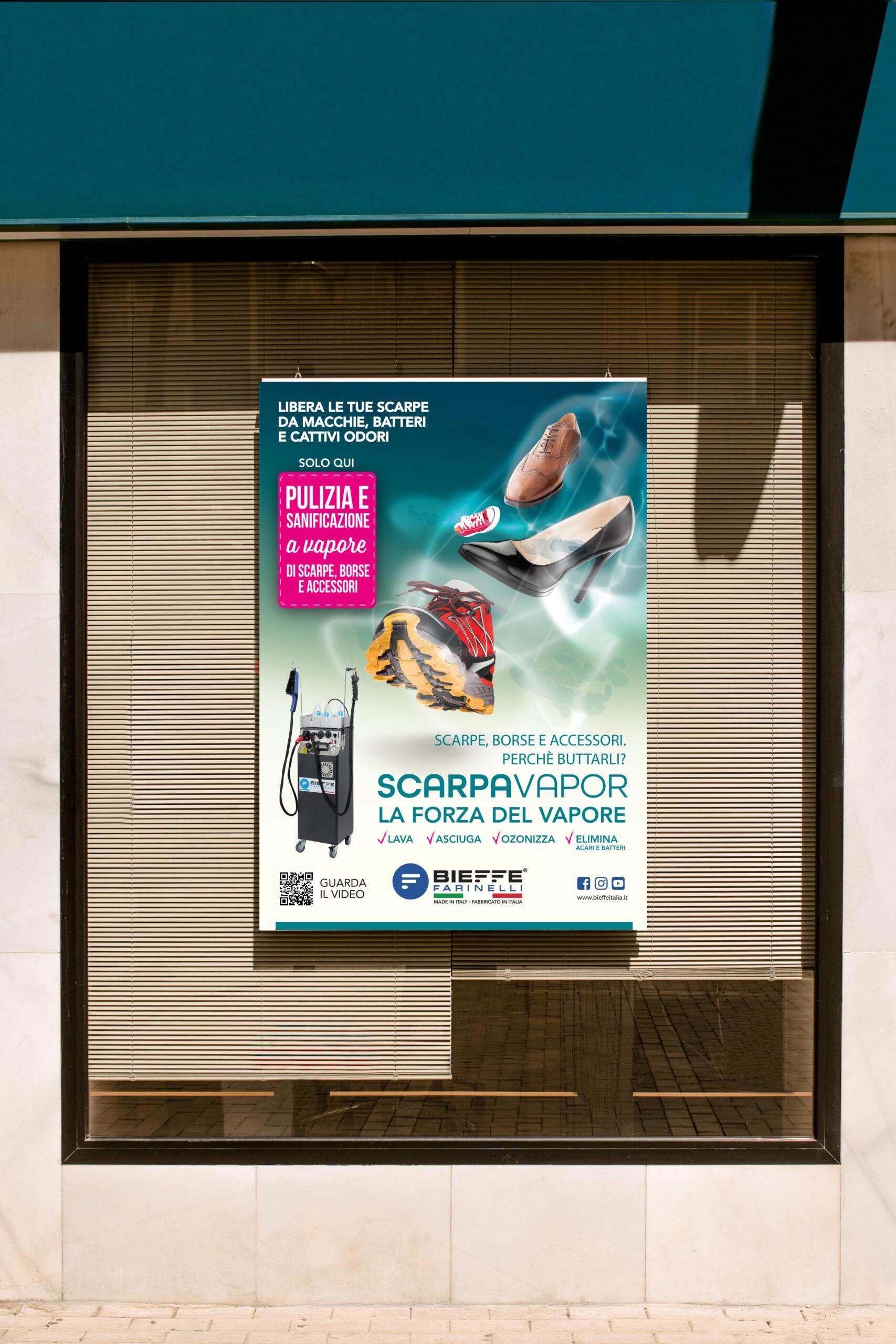 cartello pubblicitario lavaggio scarpe